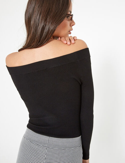 Black ribbed boat neck jumper
