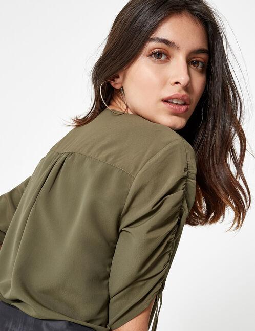 Khaki blouse with gathered sleeve detail