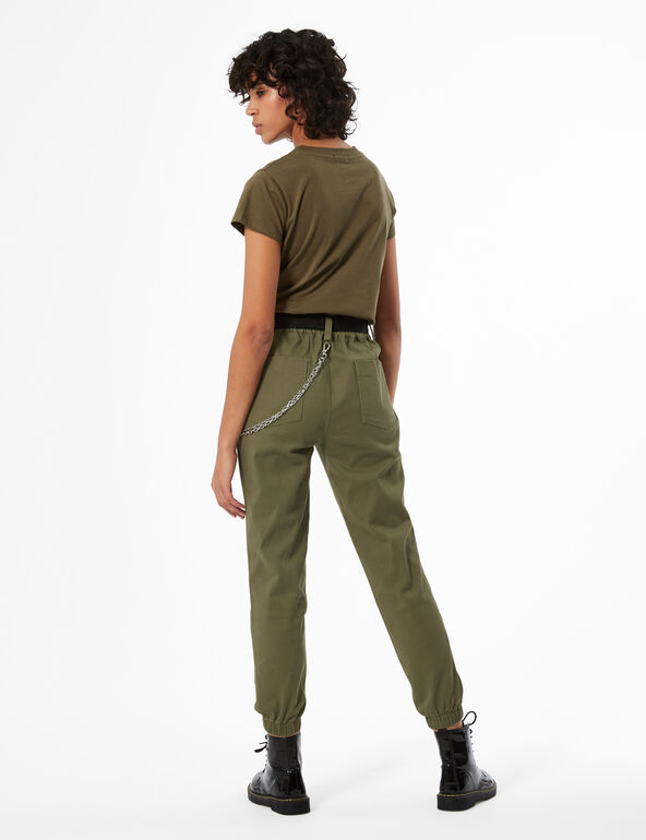 Cargo trousers with chain detail