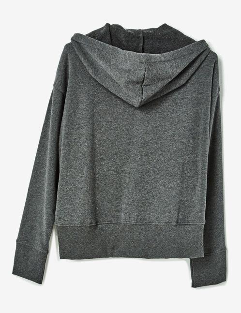 sweat zippé à capuche gris anthracite chiné
