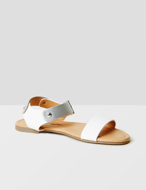 sandales plates bicolores blanches et argentées