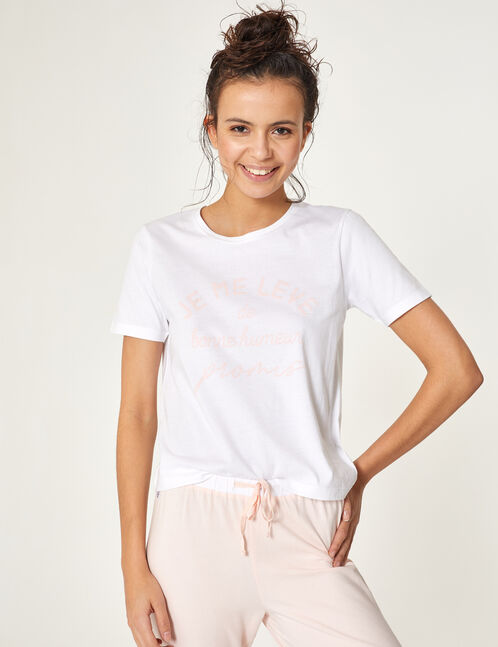 set pyjama à message blanc et rose clair