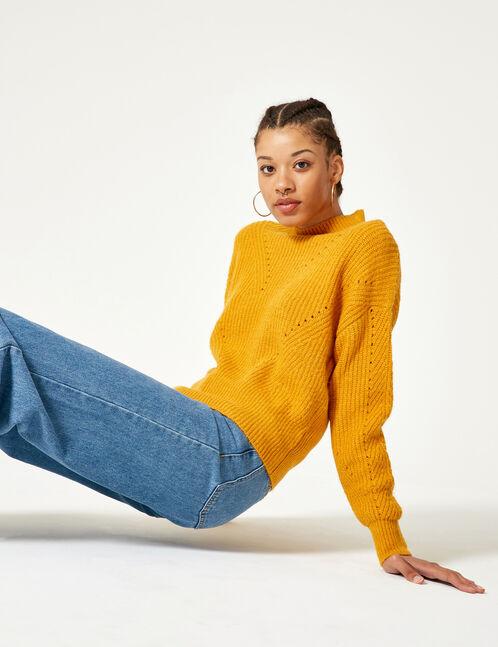Ochre openwork knit jumper