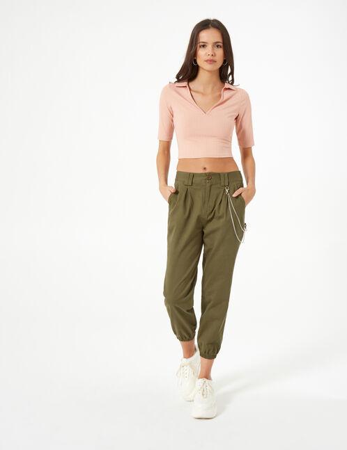 pantalon cargo avec chaîne kaki