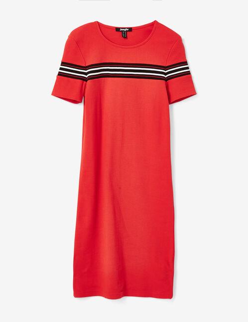 robe tube avec rayures rouge