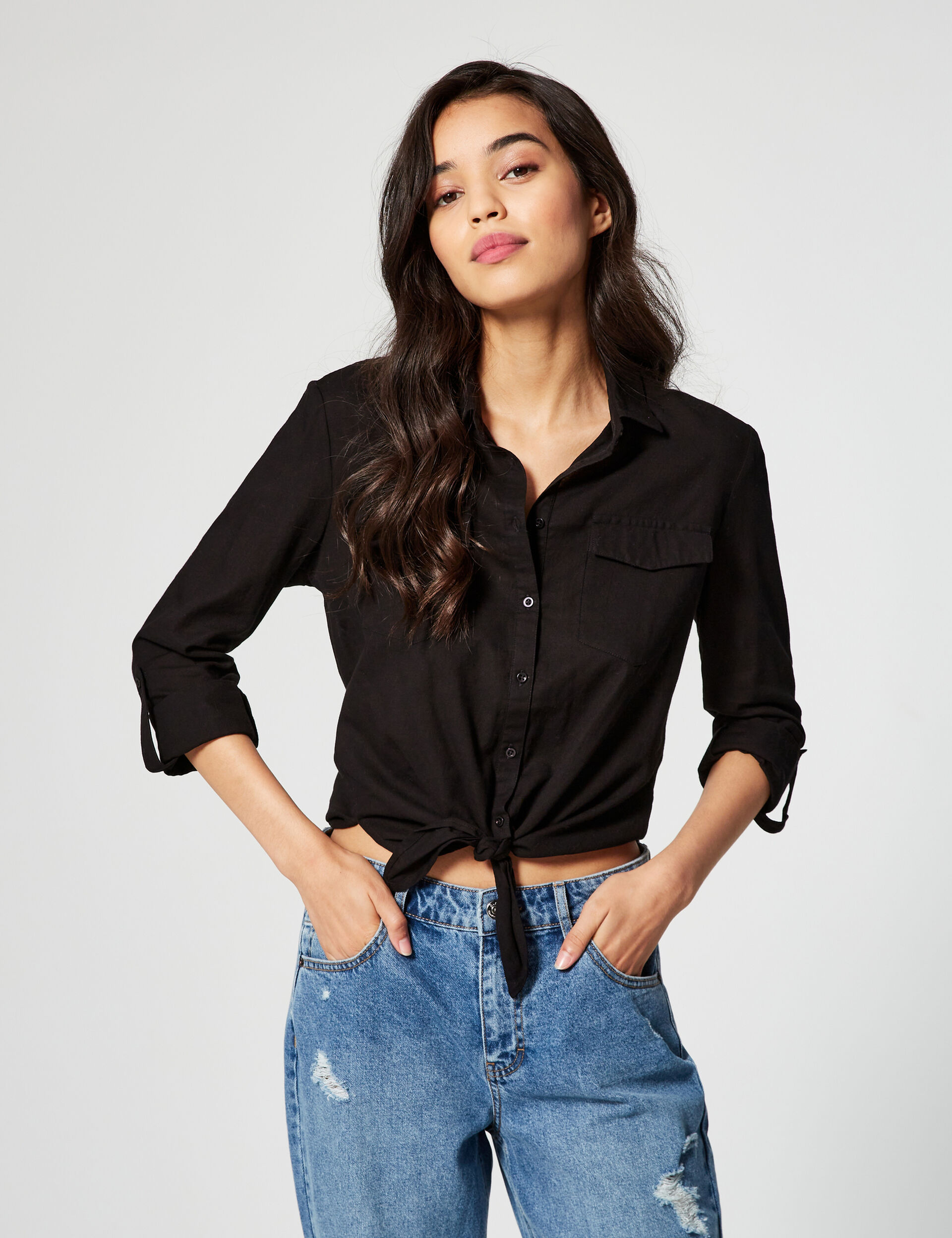 Tie-fastening blouse