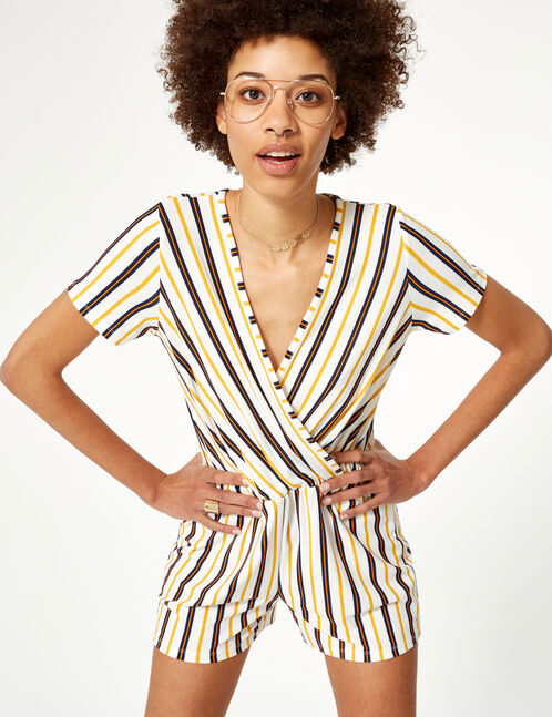 Cream, navy blue and ochre striped playsuit