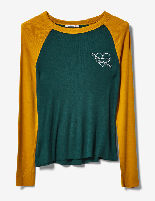 Green and ochre two-tone top with text design detail