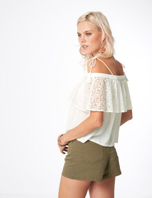 Off-the-shoulder blouse with lace frill detail