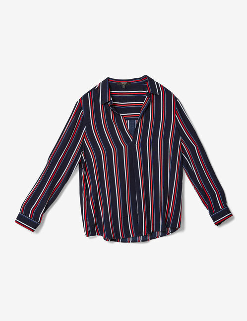 Navy blue, red and white striped V-neck blouse