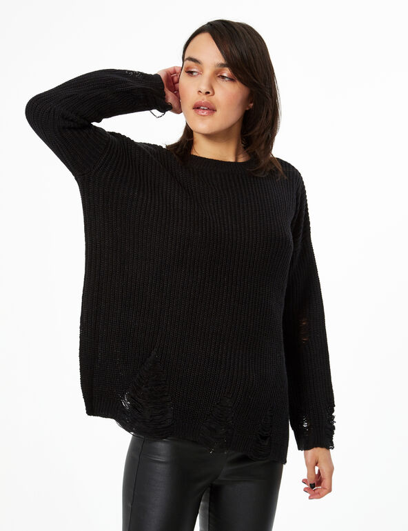 Oversized distressed jumper