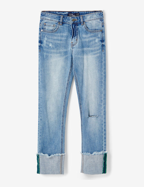 Medium blue slim-fit jeans with turn-up hems