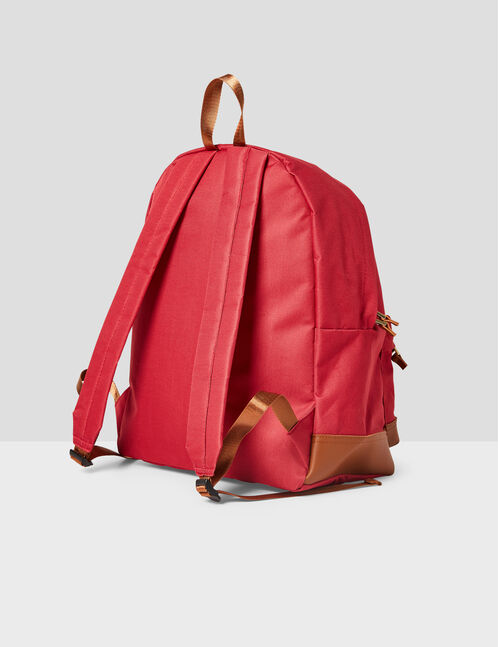 Burgundy and camel mixed fabric backpack