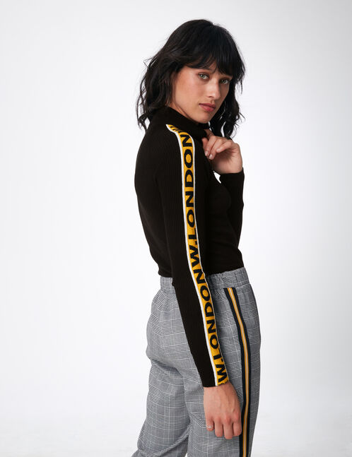 """Black and ochre ribbed """"W.London"""" jumper"""