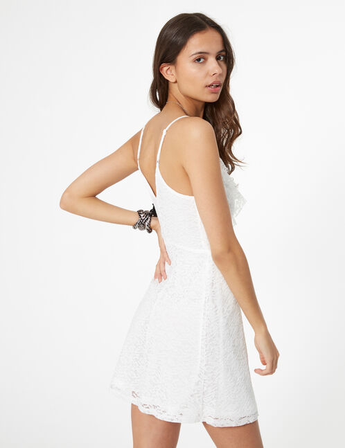 White lace dress with frill detail