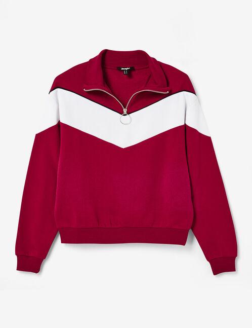 Burgundy zipped sweatshirt with chevron detail