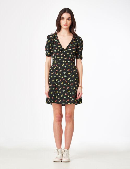 robe évasée fleurie noire