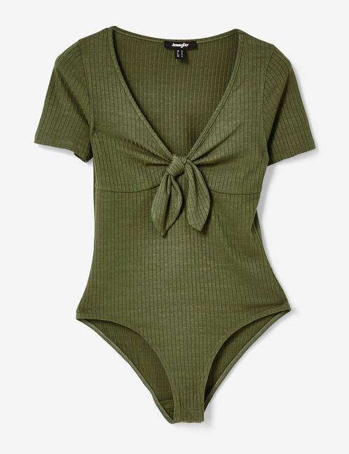 Khaki rib-knit bodysuit