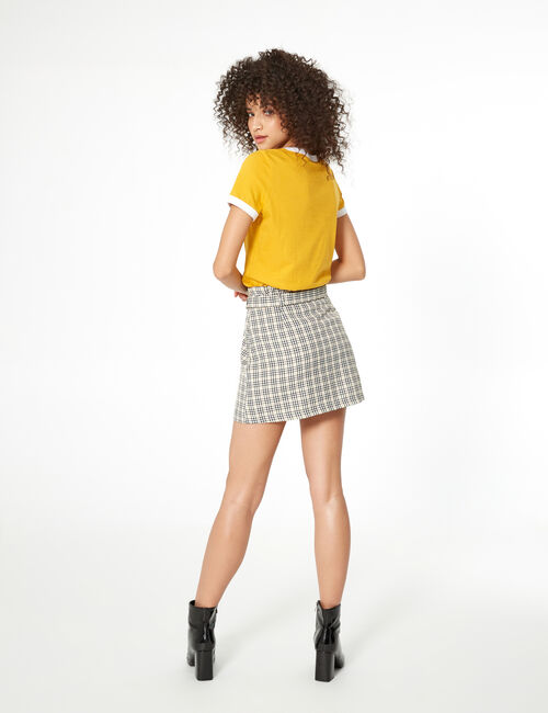 Camel and black checked miniskirt
