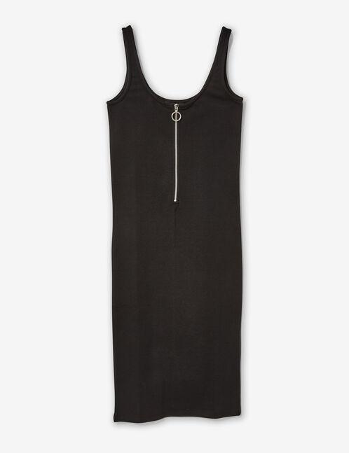 Black tube dress with zip detail