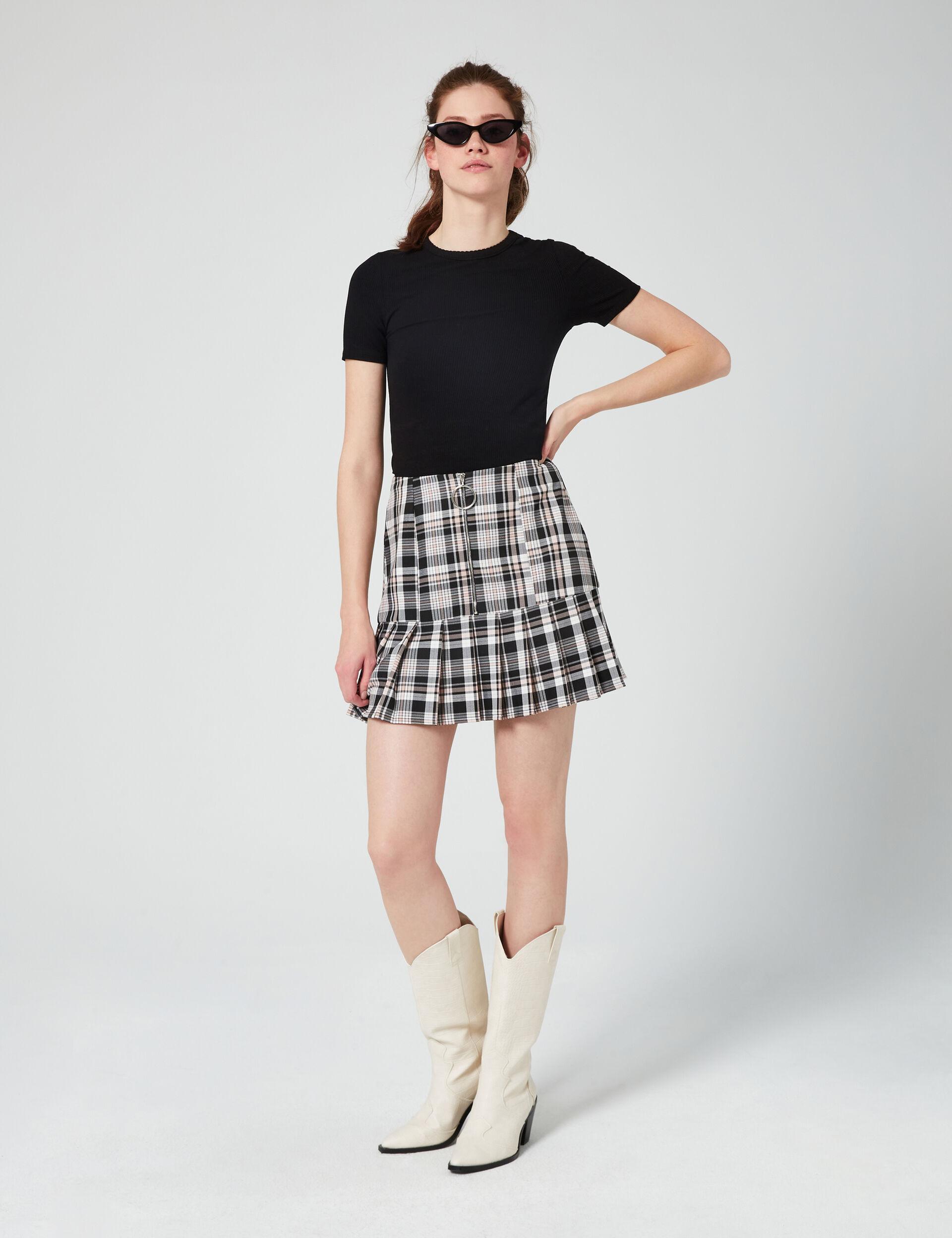 Short checked skirt