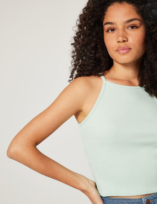 Ribbed cropped vest top