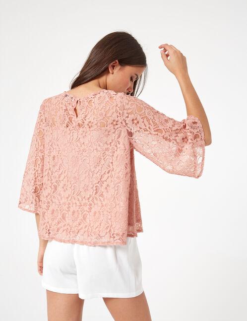 blouse dentelle rose clair