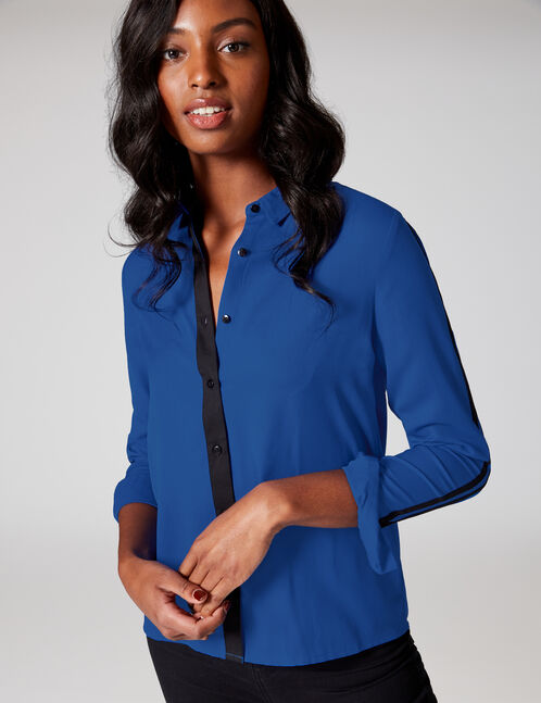 Blue shirt with trim detail