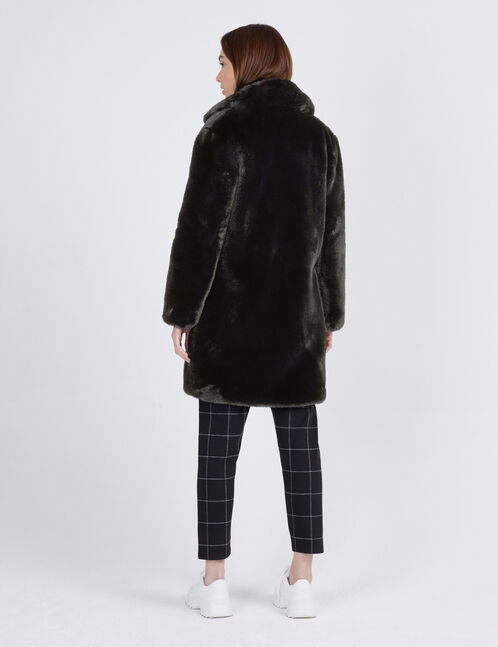 manteau long fausse fourrure noir femme jennyfer