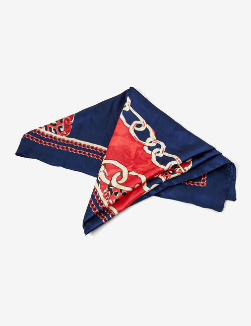 foulard imprimé bleu marine et rouge