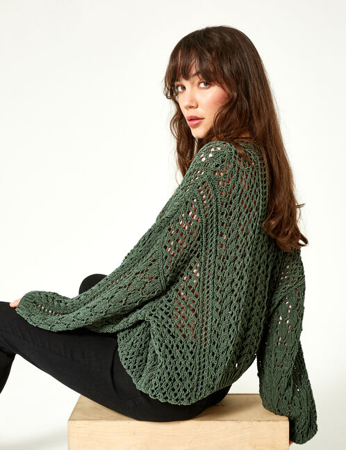 Loose-fit khaki openwork jumper
