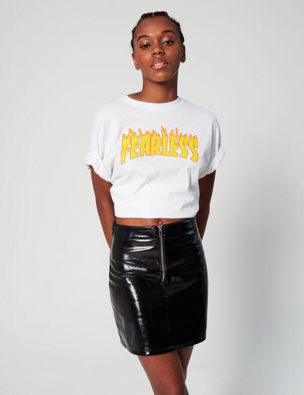 Vinyl zipped skirt