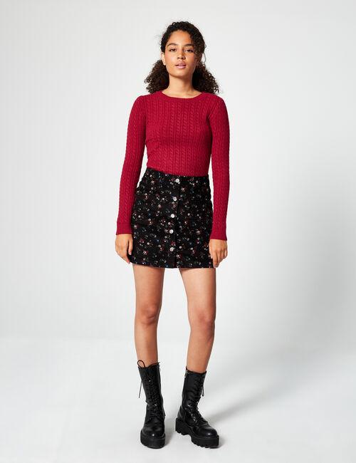 Printed velvet skirt