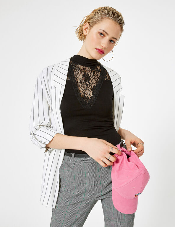 Cream and black striped blazer