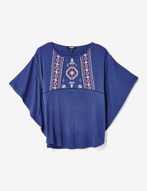 tee-shirt avec broderies bleu marine