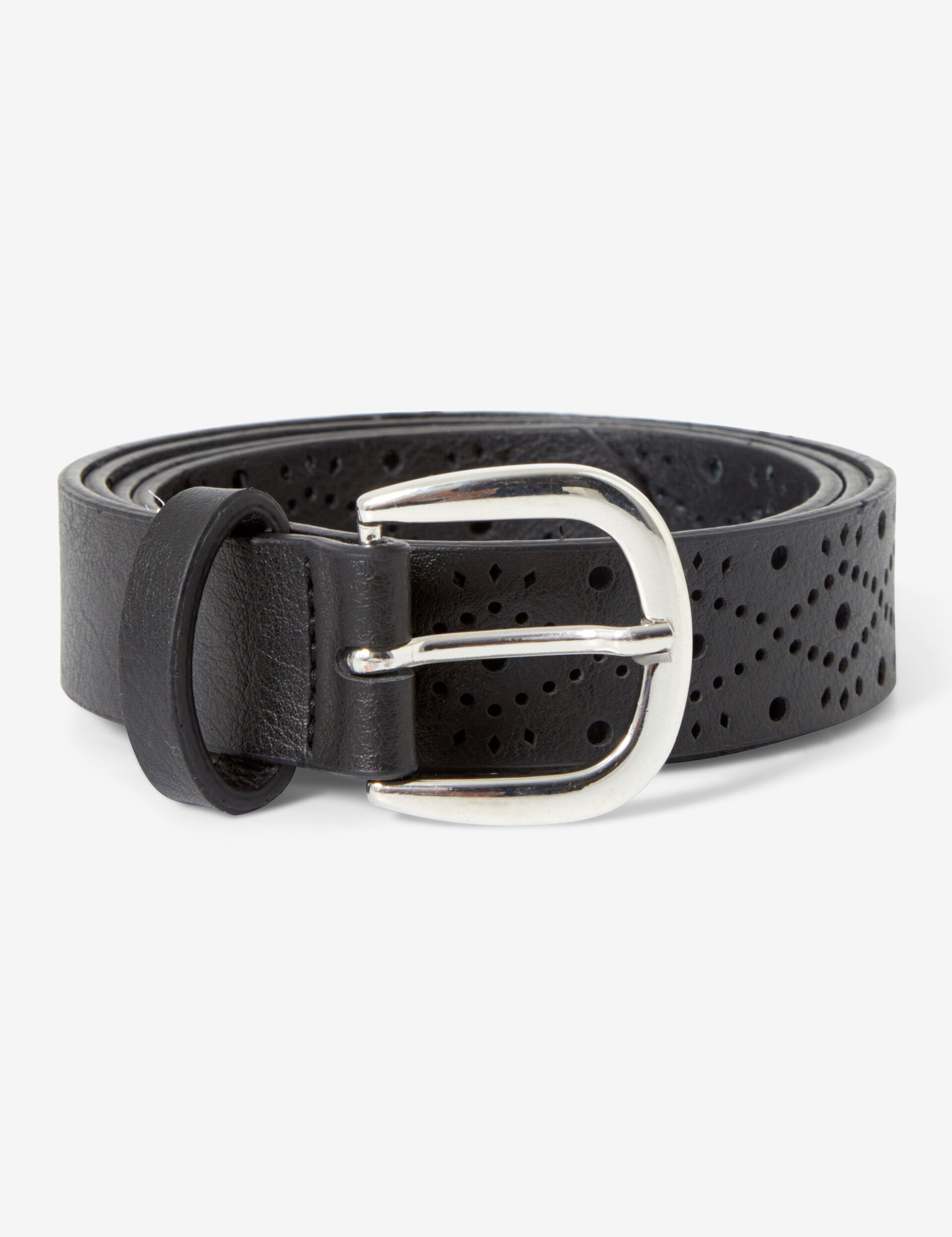 Perforated faux leather belt