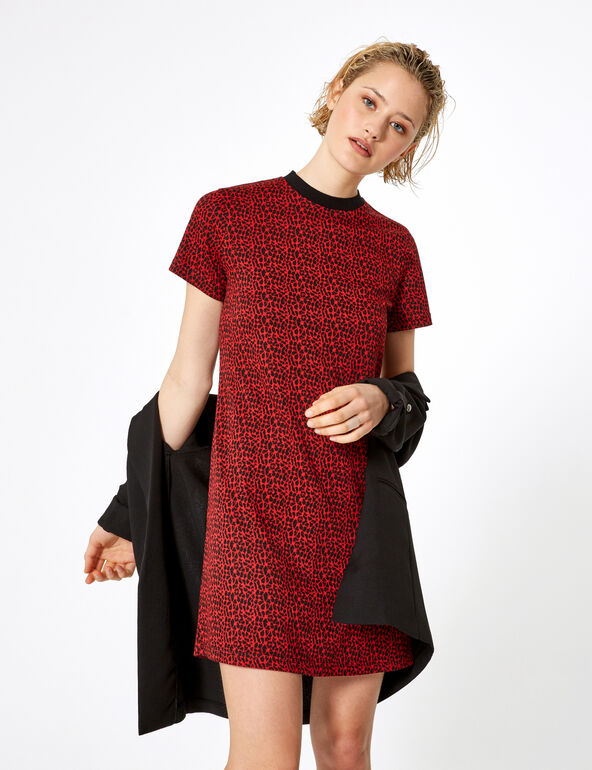 Black and red leopard print dress