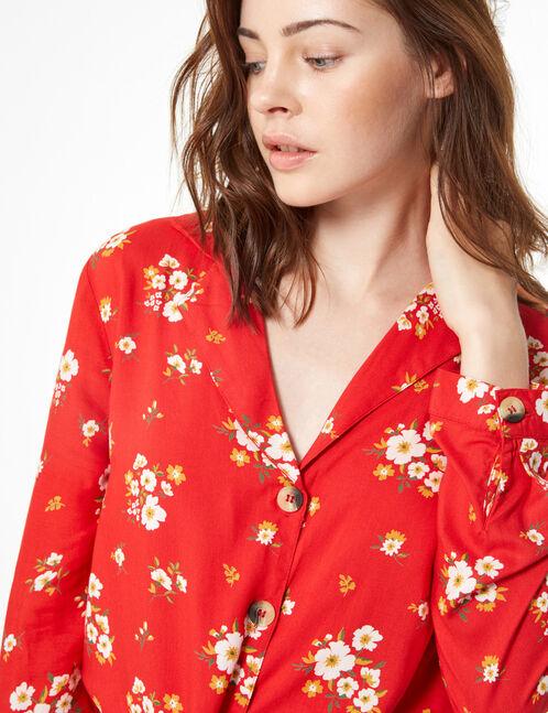 tie-fastening floral shirt