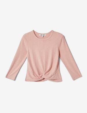 Product Top tee-shirt femme, rose clair, maille côtelée, effet noué devant, col rond, manches 3/4.  Photos retouchéesMarque Jennyfer Catégorie tops + tee-shirts
