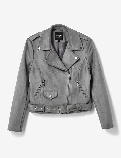Grey biker jacket with belt