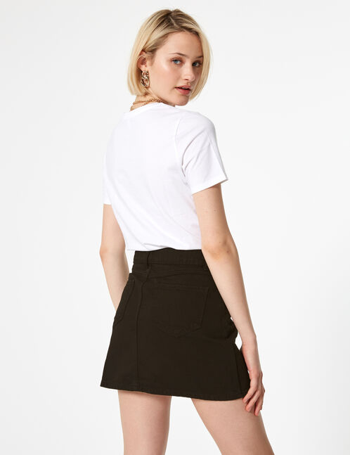 jupe en jean boutonnée noire
