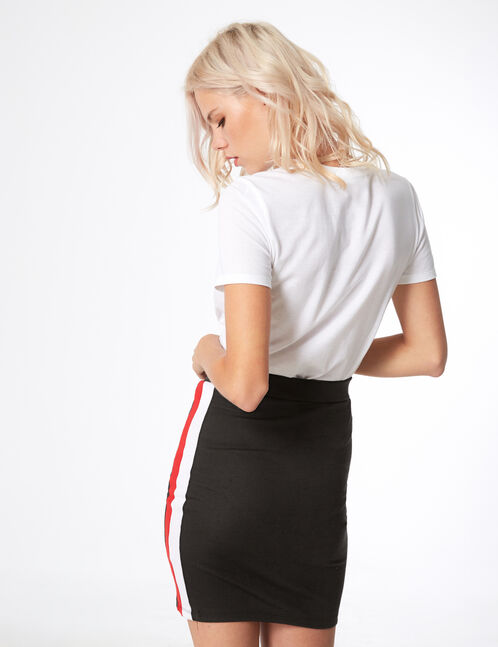 Black skirt with side stripe detail