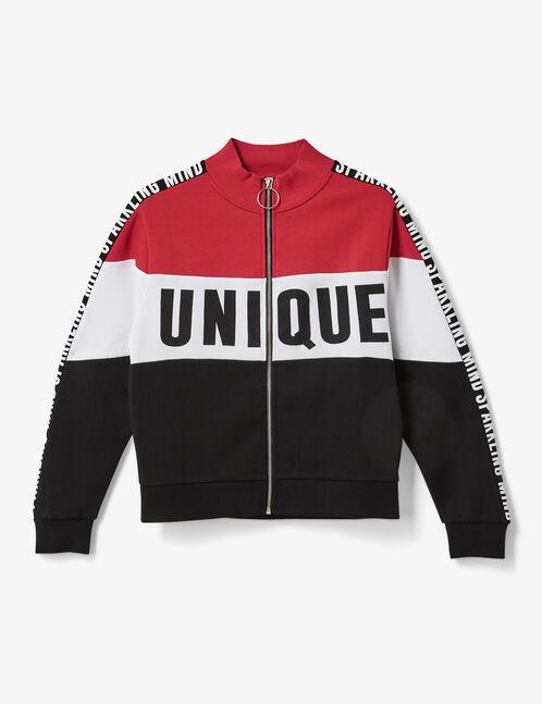 sweat zippé unique rouge, noir et blanc