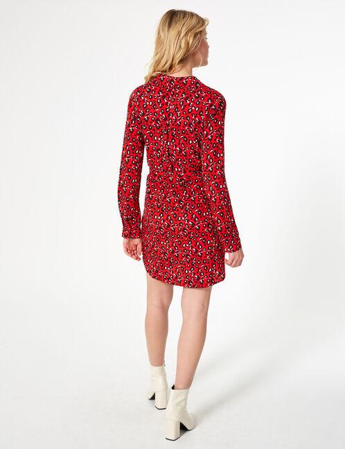 robe chemise léopard rouge et noire