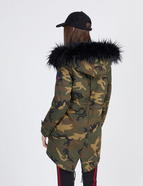 Khaki camouflage parka