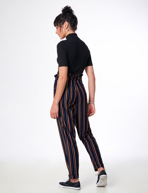 Black, white, red and navy blue striped loose-fit trousers
