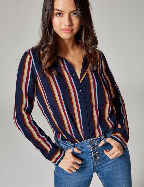 chemise rayée prune, rose, ocre, bordeaux et bleue