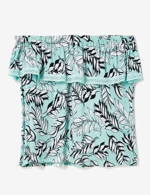 blouse épaules dénudées vert d'eau et écru