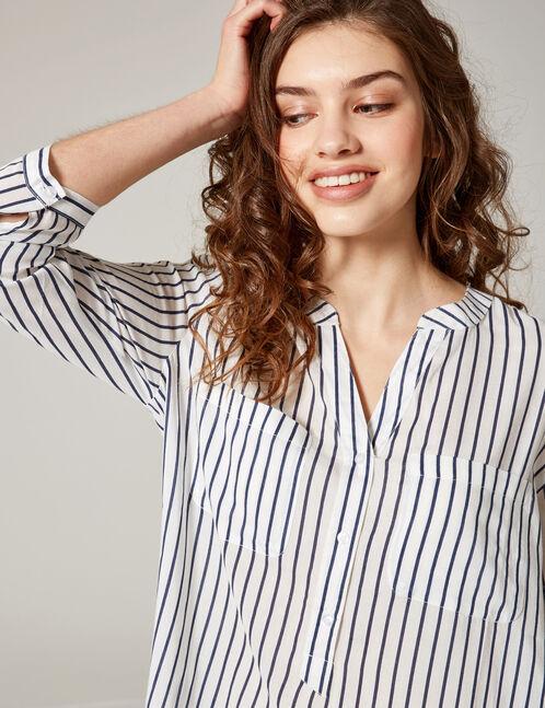chemise col v rayée blanche et bleu marine