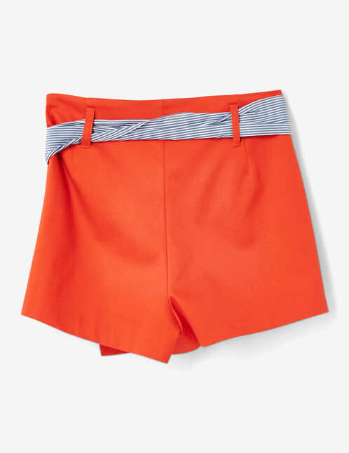 Red miniskirt with belt detail